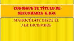 NUEVO PLAZO DE MATRÍCULA SECUNDARIA E.S.O.